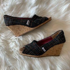 Toms   Black Plaid Peep Toe Cork Wedge Sandals